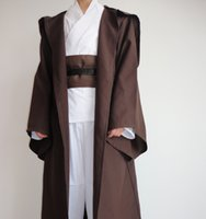 Wholesale Star Wars Costume Unisex Adult Hooded Robe Jedi Kinight Cosplay Black Brown Cloak Cape Anakin size