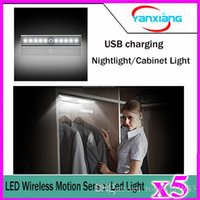 Wholesale 5pcs Wireless PIR Motion Sensor Lamp Super Bright LED Battery Powered Cabinet Drawer Night Light YX DD