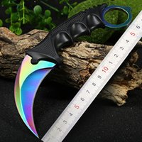 Wholesale Cool Handmade Hunting Karambit Knife CS GO Never Fade Counter Strike Fighting Survival Tactical Knife Claw Camping knives Tools