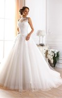 Wholesale Romantic A Line Illusion Neck Sexy Sheer Back Bridal Gown Applique Tulle Wedding Dresses Robe De Mariage New Arrival