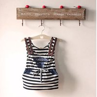 Wholesale 50pcs summer baby girl stripe suspender straight skirt leisure cotton letter fashion children clothes