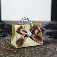 Wholesale personalized European gold beige DIY chocolate box candy bag with crystal pearl favor holder