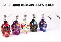 Glass Bent Type white black blue red purple free shipping real Fine Smoking Accessories new glass color skull with rubber tube pipe hookah pipe