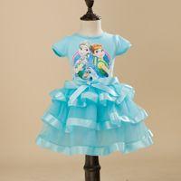 Cheap 2016 Hot Cut Party Dress frozen Elsa Anna dress girls lace tutu baby clothes blue pink cosplay Princess Dress Epacket free shipping b0028