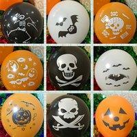 balloons games - New Halloween Balloon Inch Thick Black Orange Pumpkin Bat skull Demon Quality Round Latex Balloon Festival Game Party Scene Decorations