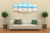 Топ-рейтинг Большой HD Печать холст для гостиной Морская звезда Shell Blue Sea, 5 панели Wall Art Picture / Фото Живопись Картины