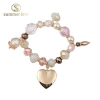 aa alloys - AA Shiny crystal bracelet for women gold heart charm love bracelet christmas gift