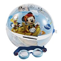 bath professionals - Hot Sale Professional Disney Mickey Boys Waterproof Swimming Glasses Swimming Goggles set With PVC Water Ball Set DEY02036 A