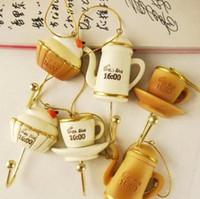 Wholesale Afternoon Tea Fridge Magnets SET Creative Zakka key Coat Hook can hang Resin Magnetic Refrigerator