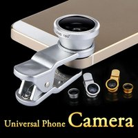 Wholesale 3 in Phone Lens Universal Clip Fish Eye Wide Angle Macro Fisheye glass camera Lens For iPhone s Samsung