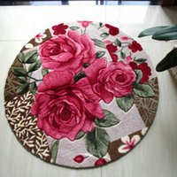 Wholesale Round rug Red rose Shaggy carpet for Bedroom mats carpets for Living room Mat Rug cream coloured red