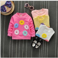 Wholesale 4pcs Autumn children long sleeved t shirt girls Korean cotton round neck casual t shirt embroidered sunflowers