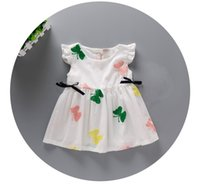 Cheap 2016 Korean Children Clothing Baby Clothes Girls Dresses Infant Short Sleeve Butterfly Dress Lovely Princess Party Pure White Dress 9258