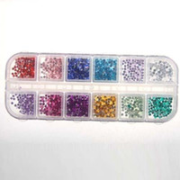 Wholesale 12 Colors Round Mixed Nail Art Tips Rhinestone mm Nail Glitter w Case Manicure shiping