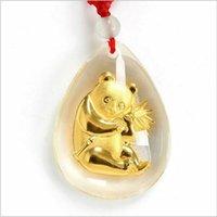 Bijoux de panda Prix-New acrylique plaqué or Pendentif Tendance Le Collier Vintage Le pendentif en forme de Panda de Bubble-For Womenmen Beaux unisexe bijoux