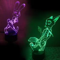 Wholesale PrettyBaby zootopia LED lighting Judy and Nick designs D creative lights colors adjustable W with USB jack