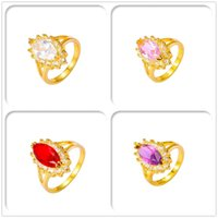 Wholesale 24K Gold Plated Rings Copper Luxury Ruby Brand Crystal AAA CZ For Women Party Gift Fashion With Jewelry Copper Hot Sales