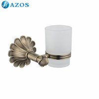 antique glass bath - AZOS Wall Mounted One Glass Cup Holders Nickel Brush Finish Antique Brass Color Toilet Accessories Bath Shower Hardware Components GJQC2303D