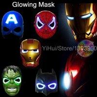 Wholesale New Style Hulk LED Batman Glowing Superhero Spiderman Halloween Mask Masquerade Ironman Cosplay Captain America Helmet