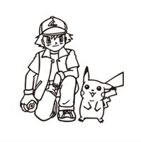 ash live - 2016 Poke Wall Sticker Ash Ketchum and Pikachu Cartoon Stickers Black White Sketch Stickers cm K7735