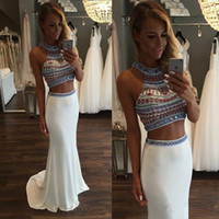 Wholesale 2016 Sexy Two Pieces Dresses Evening Gown Prom Long Chiffon High Neck Beaded Sequins Sweep Train Backless Party Sparkly Mermaid Prom Dresses
