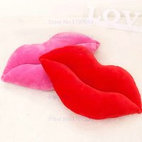 Wholesale 50CM CM hot sale size Sexy Red Lips Plush toys Cartoon double faced plush toy cushion lumbar pillow valentine day gift