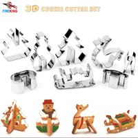 Wholesale 2016 DIY D Stainless Steel CHRISTMAS Scenario Cookie Cutter Set Baking mould include Snowman Christmas Tree Deer And Sled