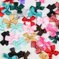 Wholesale ts023 Handmade Small size Polyester Satin ribbon Bow Flower Appliques sew Craft Kid s cloth Light Pink Color