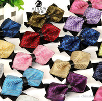 Wholesale Jacquard Bow Ties c cm Men s bowknot colors Neck Tie Occupational tie for Father s Day tie Christmas Gift Free TNT FedEx