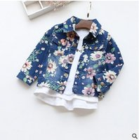 Wholesale Europe Style Baby Girls Denim Coat Fashion Floral Printed Long Sleeve Cowboy Casual Children Jacket Autumn Flower Kids Outwear