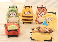 animal trolley bag - Baby Boys Girls Cartoon Trolley School Bags Children CM Suitcase On Wheels Kindergarten Cute Plush Animal Luggage Backpack