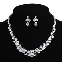 asian dresses for women - Sliver Plated Drop CZ Necklace And Earring Set Wedding Bridal Dress Accessories Jewelry Sets For Women Crystal Party Set