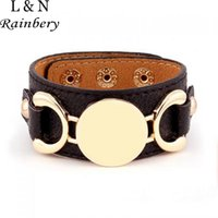 Wholesale Hot Selling Monogram Leather Cuff Bracelet Pulseras Row Gold Plated Multicolor Leather Bracelet For Women Men