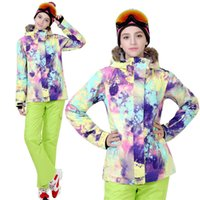 Wholesale GSOU SNOW hot sale women top hoodie jacket and strap pants windproof waterproof winter warm ski suit XS L