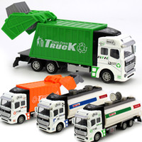 Wholesale 1 Alloy Sanitation Engineering Vehicle Simulation Garbage Truck Model Gift for Children Toys with pc Rubbish Bin