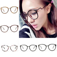 Wholesale Unisex Retro Round Nerd Glasses Curving Earstems Semi Metal Frame Spectacles