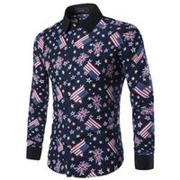best casual shirts - New Arrived Men Flag Pattern Shirt Best selling Male Long Sleeve Casual Shirt Black Collar Men Shirts