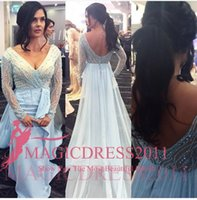 baby celebrities pictures - Baby Blue Prom Dresses Formal Evening Gowns Arabic Special Occasion Dress Mermaid Illusion Bodice V Neck Long Sleeve Beaded Celebrity