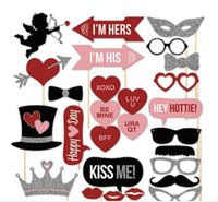 Wholesale 27pcs DIY Mustache Lip XOXO Valentine Day Christmas Beard Wedding Decoration Event Festive Party Supplies Favors Photo Props HJIA800