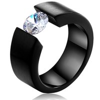 Wholesale Simple Style Stainless Steel with Crystal Zircon Mens Engagement Ring Diamond Wedding Band
