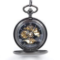 Wholesale Black Mechanical antique pocket watches for sale with chain half hunter Hand Wind up modern pocket watches