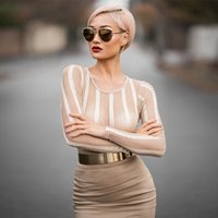Wholesale 2016 New Women Autumn Winter Round collar package hip net yarn splicing long sleeved H2504 elastic cultivate one s morality