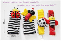 bee wristbands - 2016 High Quality Lamaze Wrist rattle foot finder Baby toys Garden Bug Bee Baby Rattle Socks Lamaze Baby Rattle Socks and wristbands