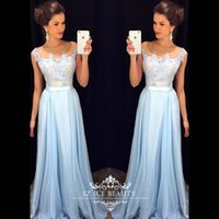 Wholesale Cheap Fast Shipping Long Bridesmaid Dresses Illusion Sheer Scoop Cap Sleeves Applique Light Blue Women Dress Gowns Custom Made