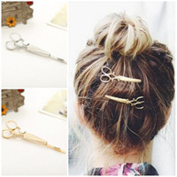 Wholesale Cool Simple Head Jewelry Hair Pin Gold Scissors Shears Clip For Hair Tiara Barrettes Accessories Headdress For Girl Women