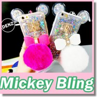 ball phone - Bling Lovely Mickey Ear Bowknot Fur Ball Rhinestone Diamond Phone Cases Cover Plush Warm Fur Protective Shell for Iphone Plus s