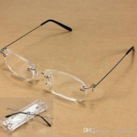 Wholesale New Unisex Clear Rimless Reading Glasses Spectacles Eyeglasses with Case E00240 FSH
