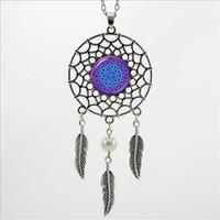 Pendant Necklaces american dream catcher - 2016 Trendy Style Dreamcatcher Pendant Purple Blue Om Necklace Flower of Life Jewelry Dream Catcher Necklace DC