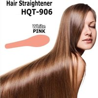 Wholesale Hair Straightener Flat Iron HQT Hair iron Straightening Brush Hair Styling Tool comb With LCD WHITE PINK US EU UK AU Free DHL Fedex