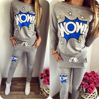 best hot sweaters - 2016 HOT SALE Elastic Waist Letter Printed Top and Pants Sweater Suit Tracksuits Long sleeve Casual Women Clothes Best Quality S XLWY7032